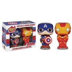 Salière et poivriere POP Marvel : Captain America & Iron Man