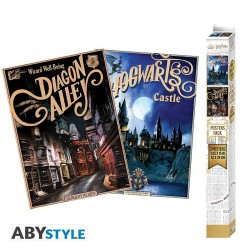 Set 2 Posters - Harry Potter Poudlard & Diagon (52x38)